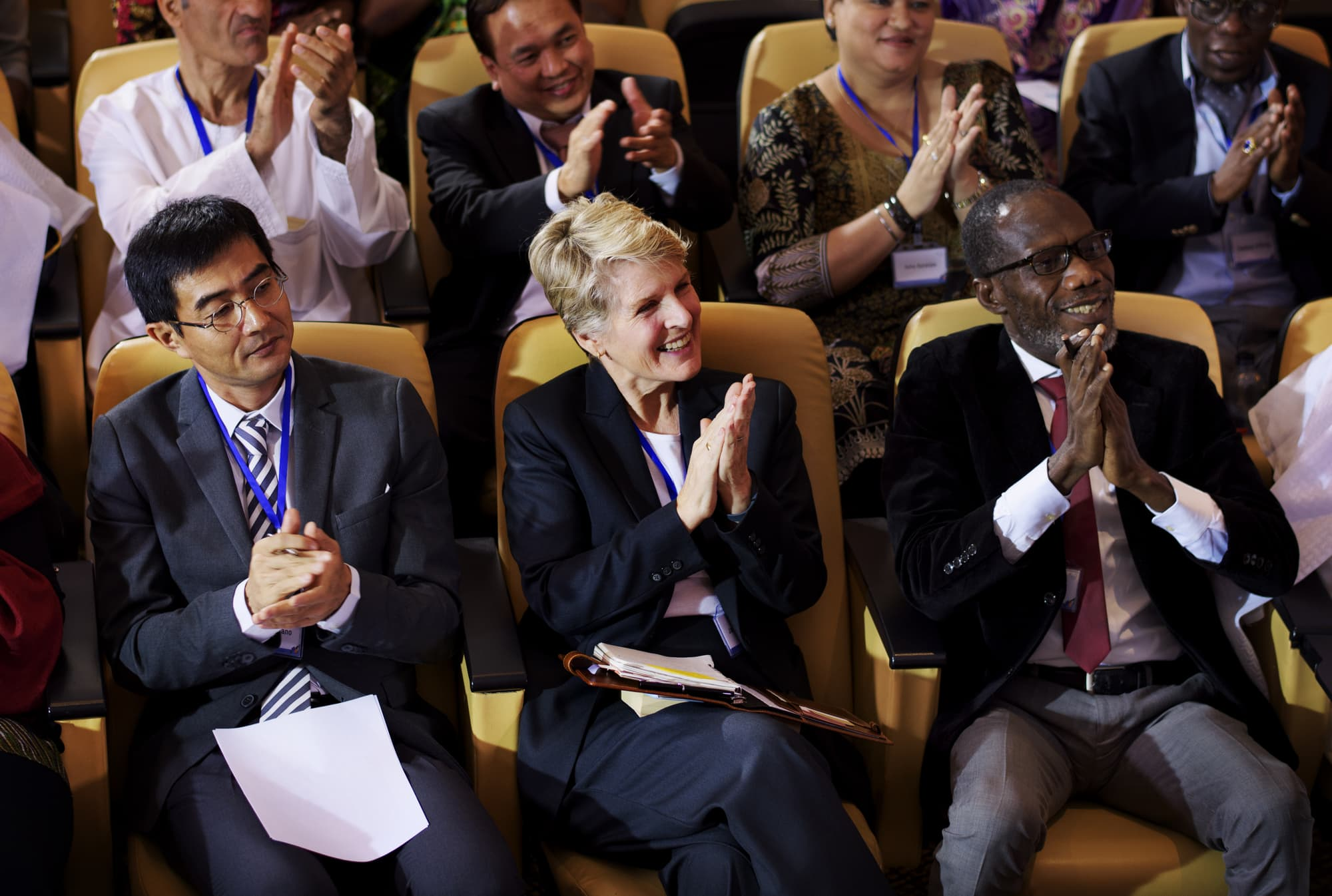 Diverse People Clapping Hands Conference